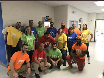 Kenwood's social studies teachers dressed as M&Ms for Spirit Week.