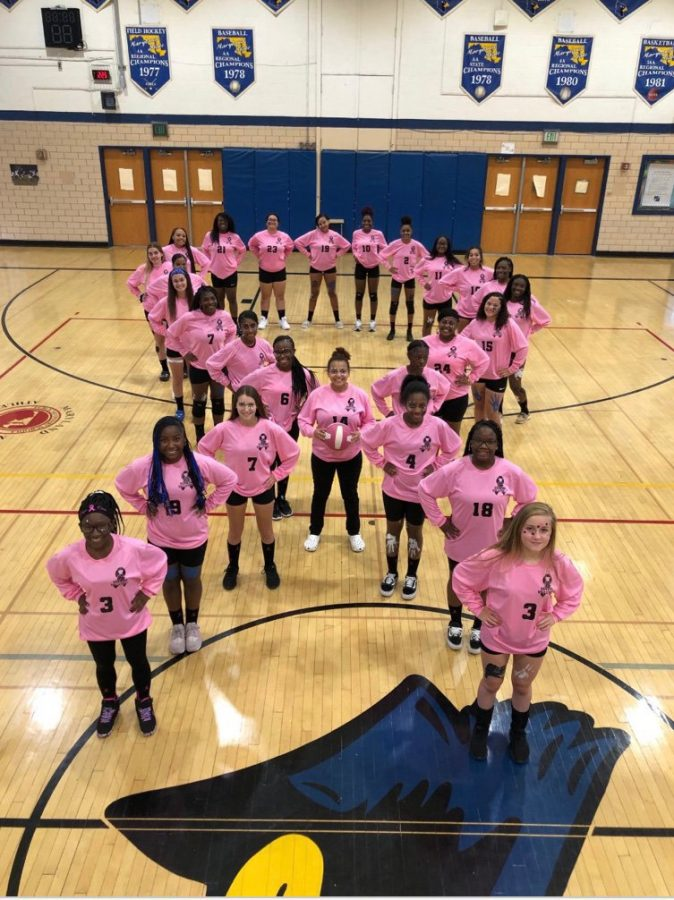KHS+Volleyball+honoring+Breast+Cancer+Awareness+at+their+Homecoming+game+on+Oct+11.+