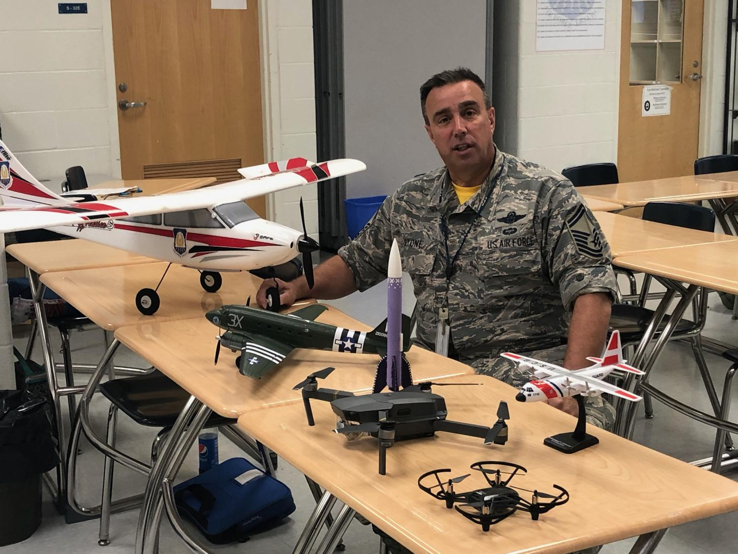 Senior Master Sergeant Stone preparing to teach the Aviation course at Kenwood.