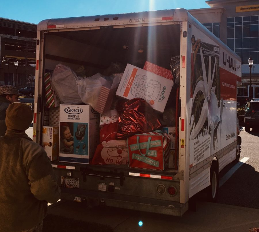 Santa's Sleigh (aka Kenwood's adopt a family gifts) ready to deliver to families.