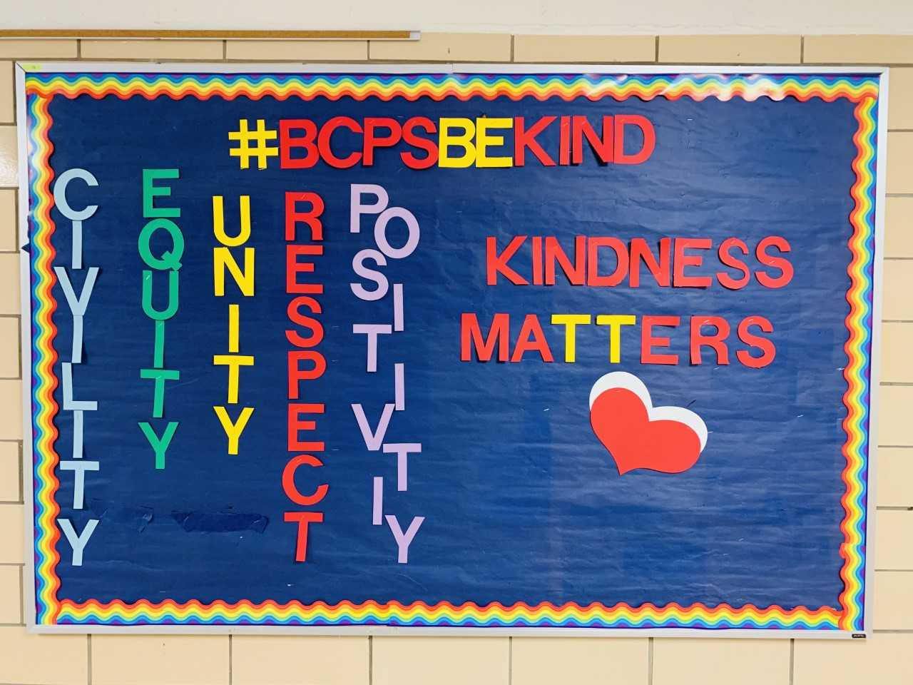 Mind over Matter Kindness Bulletin board outside KHS School Counseling office.