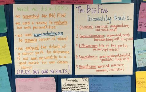 Student created posters evaluating how personalities can impact career choices.