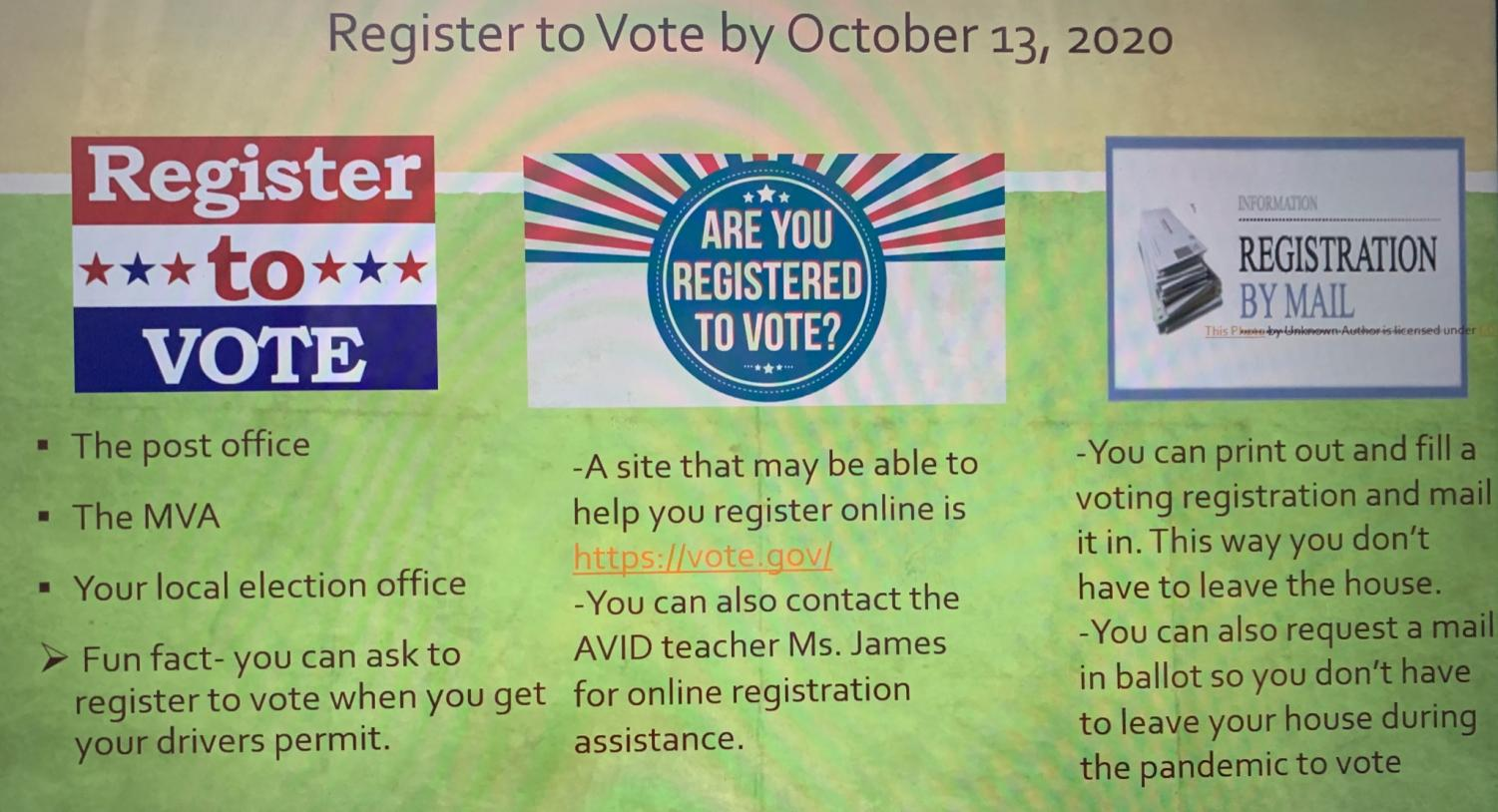Deadline to register to vote is Tuesday Oct 13! Have your voice heard this election!
