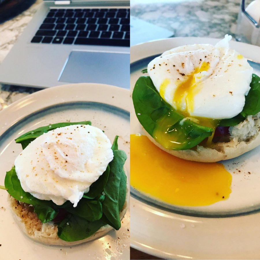 Chef+G+doing+a+virtual+demo+of+poached+eggs+to+model+for+her+students.+