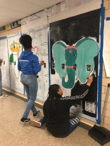 Art Honor Society creating murals throughout the halls at Kenwood.
