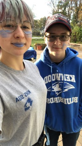 Emily and Abigail still showing their Kenwood spirit from home for the BCPS school spirit day.