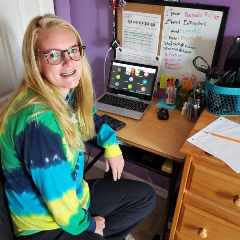 Students work from the comfort of their own homes for a full semester of virtual learning.
