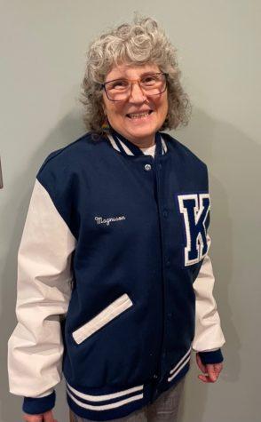 Ms. Magnuson celebrating her retirement in her Kenwood letter jacket!