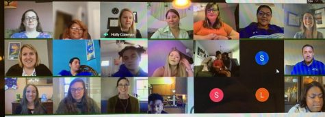 Students and teachers met virtually on April 20 to induct students into select Honor Societies.