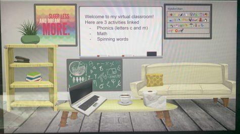 Bitmoji classroom created for preschool students by Child Development II student Kersten Cochran.