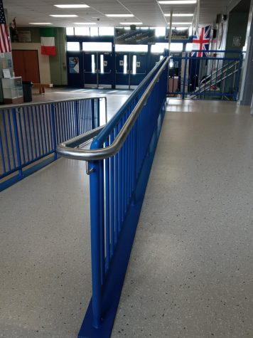 New wheelchair ramp in front lobby makes it easier for students and guests to get around the building